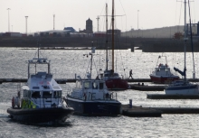 Police Patrol Boat heads North