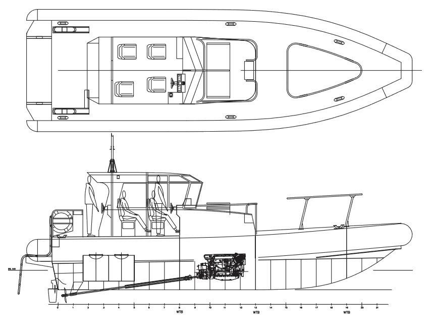 Pilot 12.6m Twin Diesel Shaft Drive layout