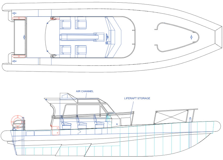 Pilot 12.6m Twin Outboard layout